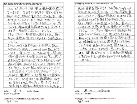 松戸北小金の整体体験談